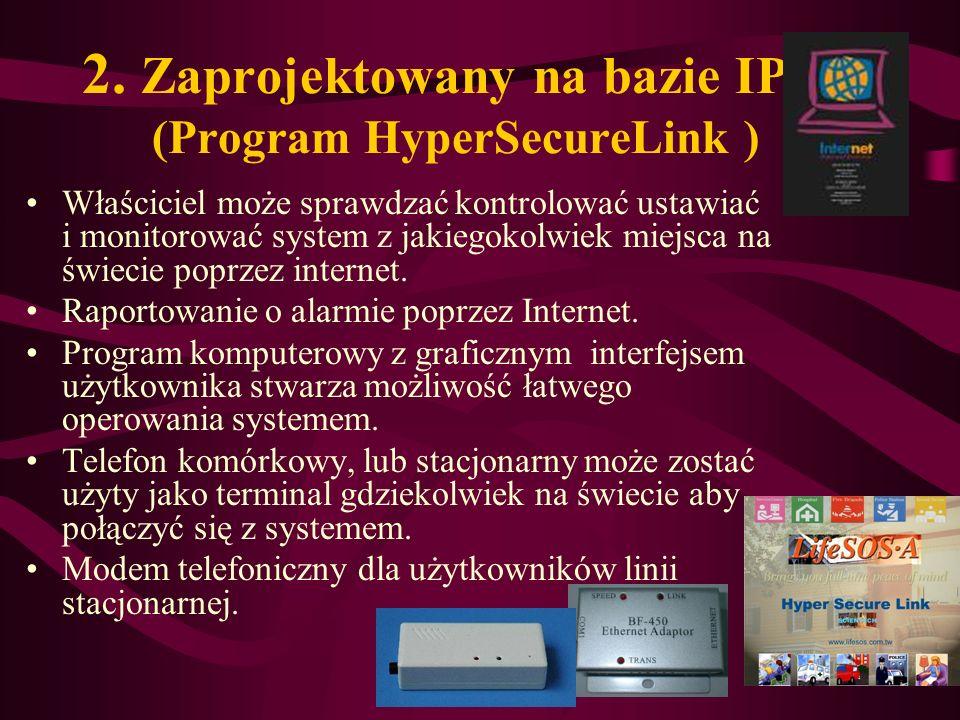 2. Zaprojektowany na bazie IP (Program HyperSecureLink ) Właściciel może sprawdzać kontrolować ustawiać i monitorować system z jakiegokolwiek miejsca