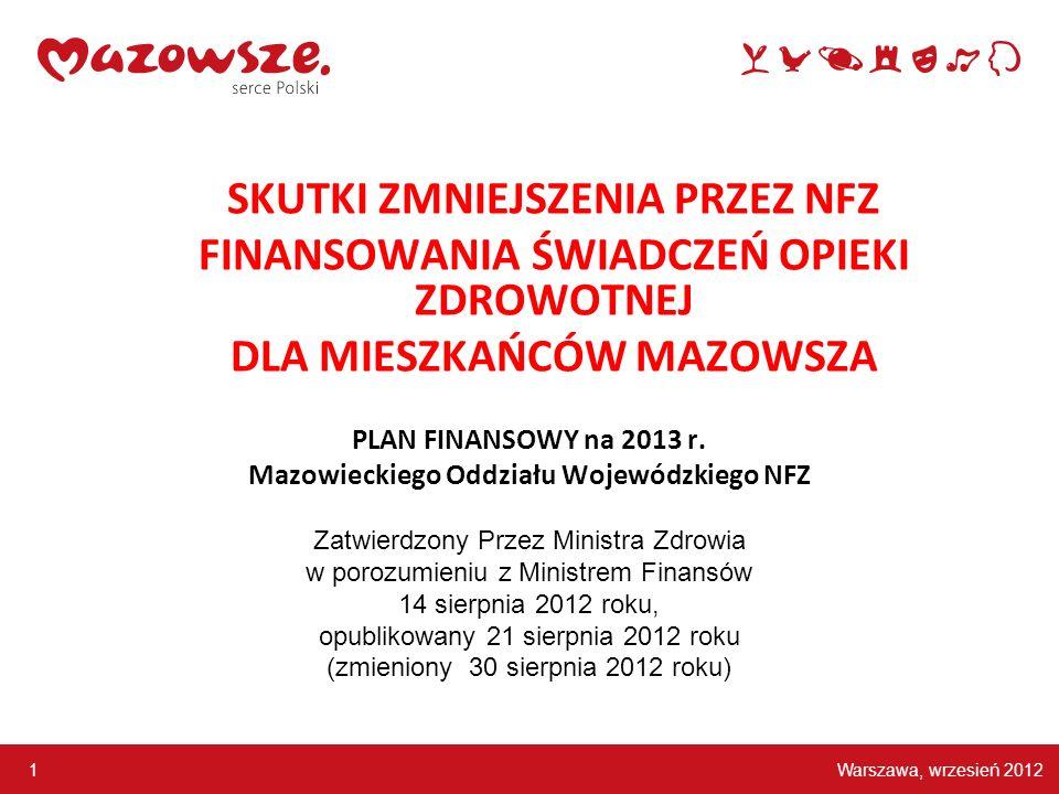 Warszawa, wrzesień 2012 1 PLAN FINANSOWY na 2013 r. Mazowieckiego Oddziału Wojewódzkiego NFZ Zatwierdzony Przez Ministra Zdrowia w porozumieniu z Mini