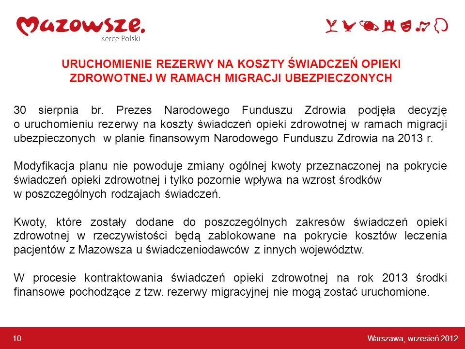 Warszawa, wrzesień 2012 10 URUCHOMIENIE REZERWY NA KOSZTY ŚWIADCZEŃ OPIEKI ZDROWOTNEJ W RAMACH MIGRACJI UBEZPIECZONYCH 30 sierpnia br. Prezes Narodowe