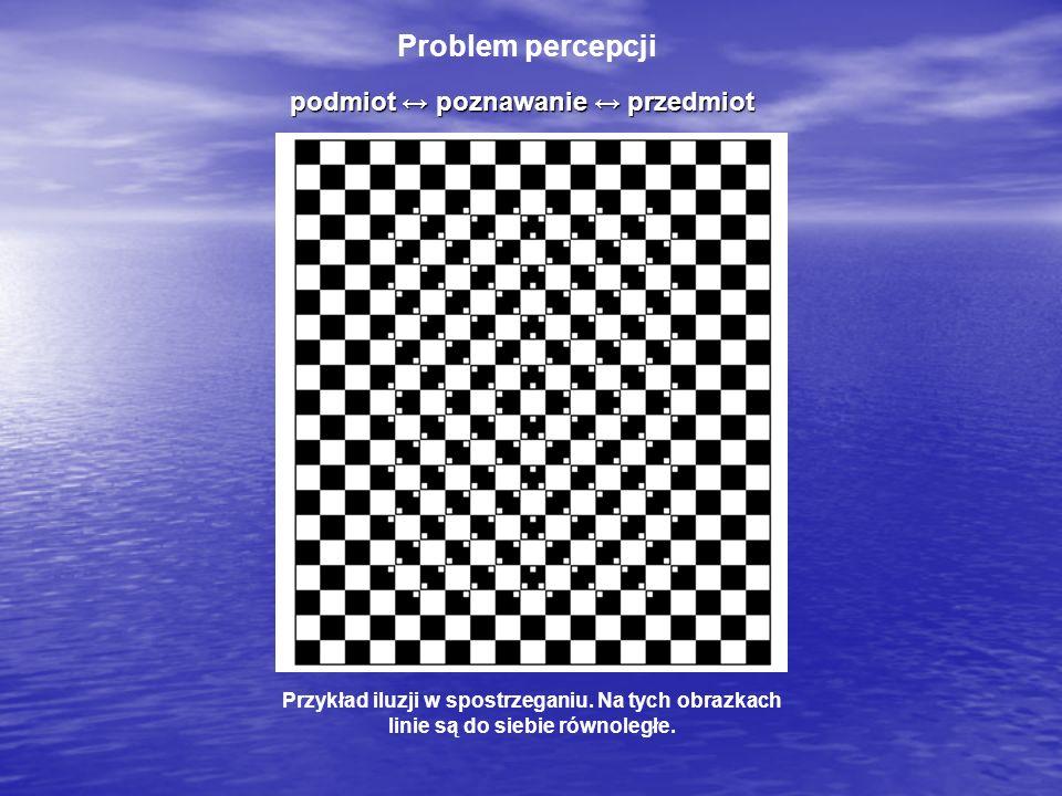 Problem percepcji Przykład iluzji w spostrzeganiu. Na tych obrazkach linie są do siebie równoległe. podmiot poznawanie przedmiot