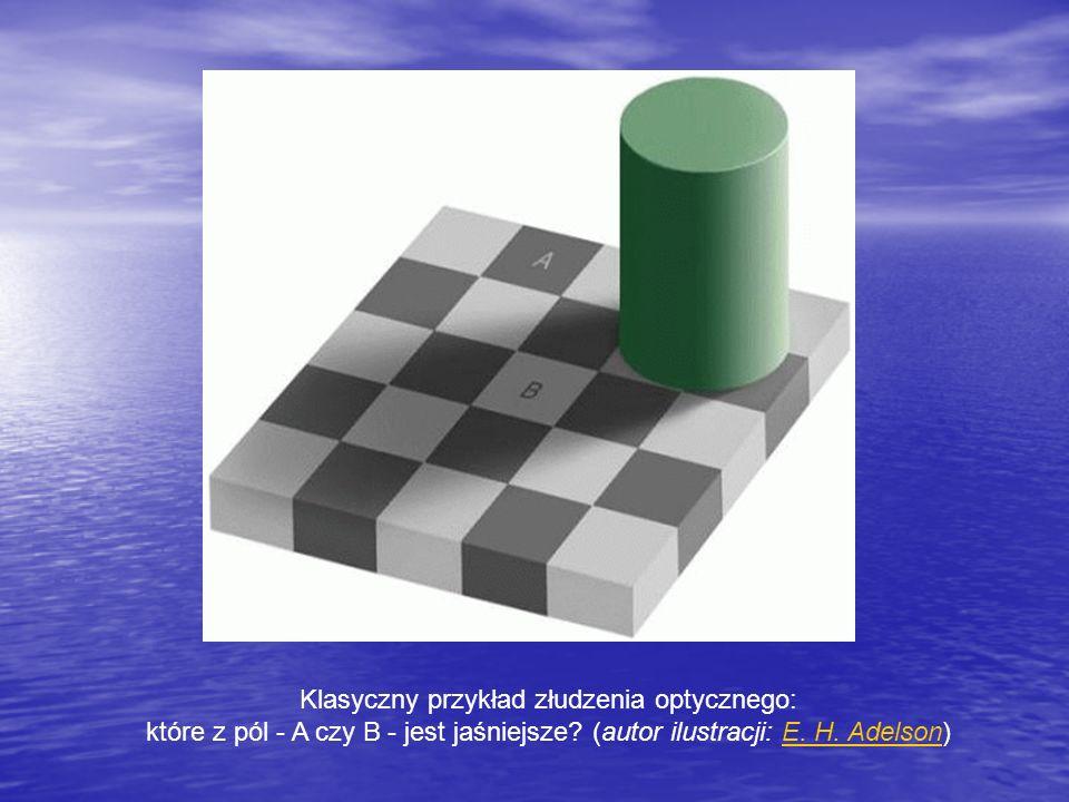 Klasyczny przykład złudzenia optycznego: które z pól - A czy B - jest jaśniejsze? (autor ilustracji: E. H. Adelson)E. H. Adelson