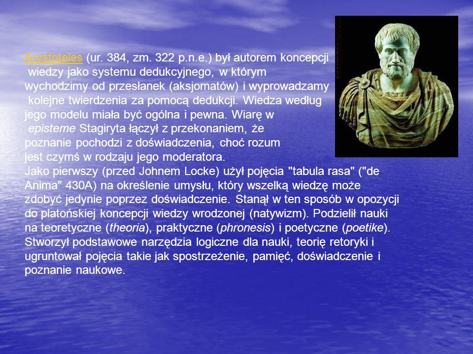 ArystotelesArystoteles (ur. 384, zm. 322 p.n.e.) był autorem koncepcji wiedzy jako systemu dedukcyjnego, w którym wychodzimy od przesłanek (aksjomatów