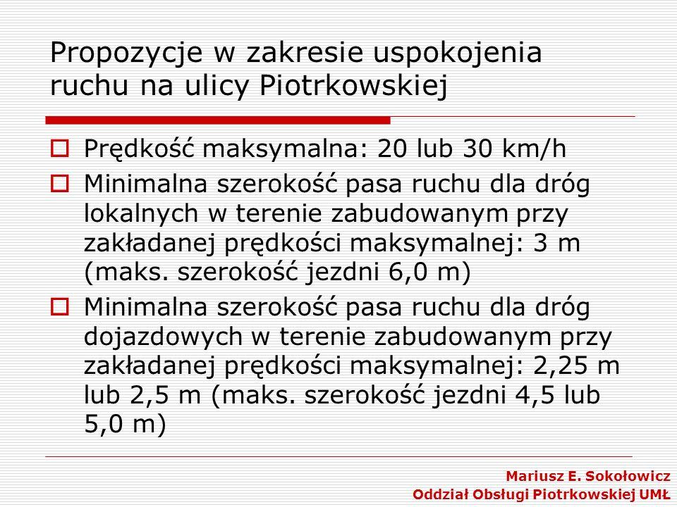 Propozycje w zakresie uspokojenia ruchu na ulicy Piotrkowskiej Prędkość maksymalna: 20 lub 30 km/h Minimalna szerokość pasa ruchu dla dróg lokalnych w