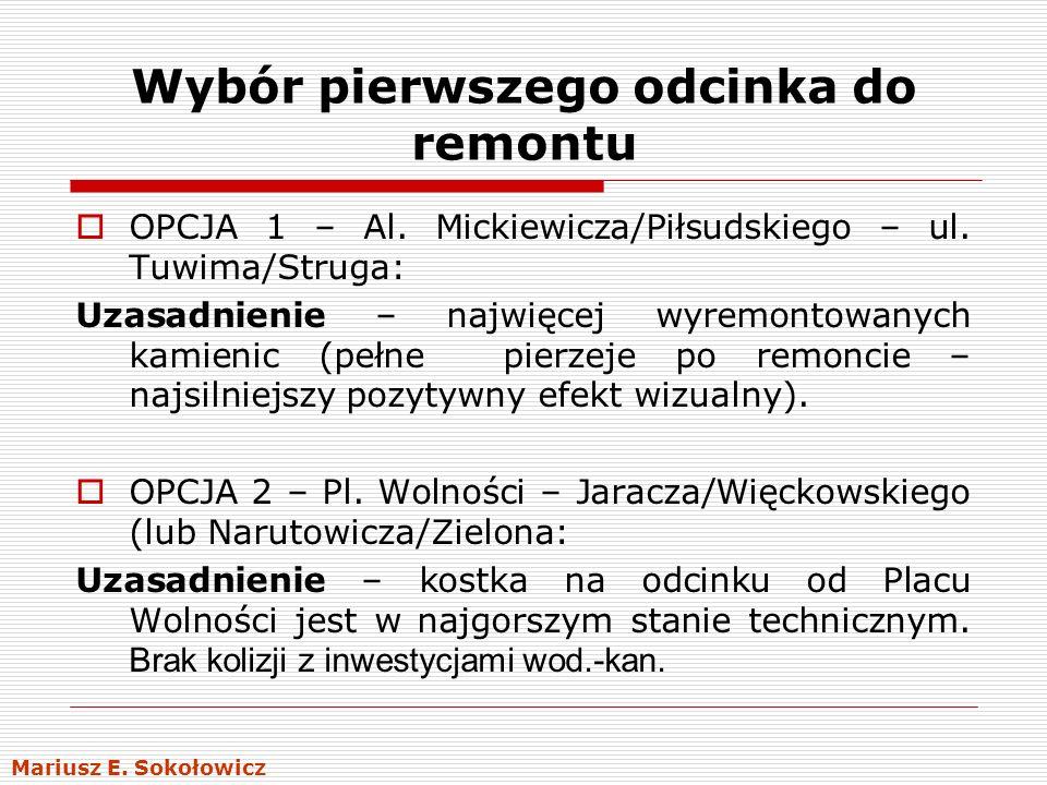 Wybór pierwszego odcinka do remontu OPCJA 1 – Al. Mickiewicza/Piłsudskiego – ul. Tuwima/Struga: Uzasadnienie – najwięcej wyremontowanych kamienic (peł