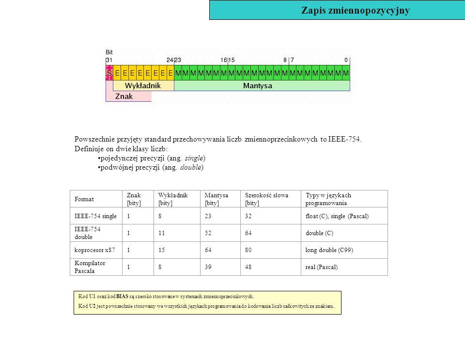 Powszechnie przyjęty standard przechowywania liczb zmiennoprzecinkowych to IEEE-754. Definiuje on dwie klasy liczb: pojedynczej precyzji (ang. single)