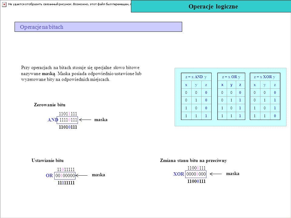 Operacje logiczne Operacje na bitach Ustawianie bitu 11111111 11011111 OR 00100000 maska Zmiana stanu bitu na przeciwny 11000111 11001111 XOR 00001000