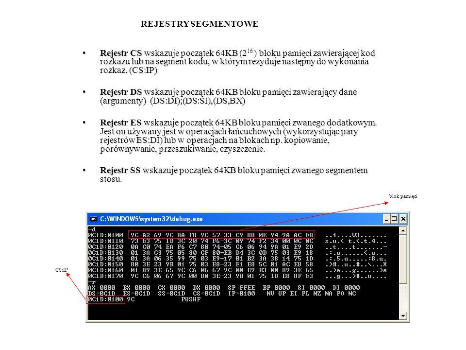 Rejestr CS wskazuje początek 64KB (2bloku pamięci zawierającej kod rozkazu lub na segment kodu, w którym rezyduje następny do wykonania rozkaz. (CS:IP