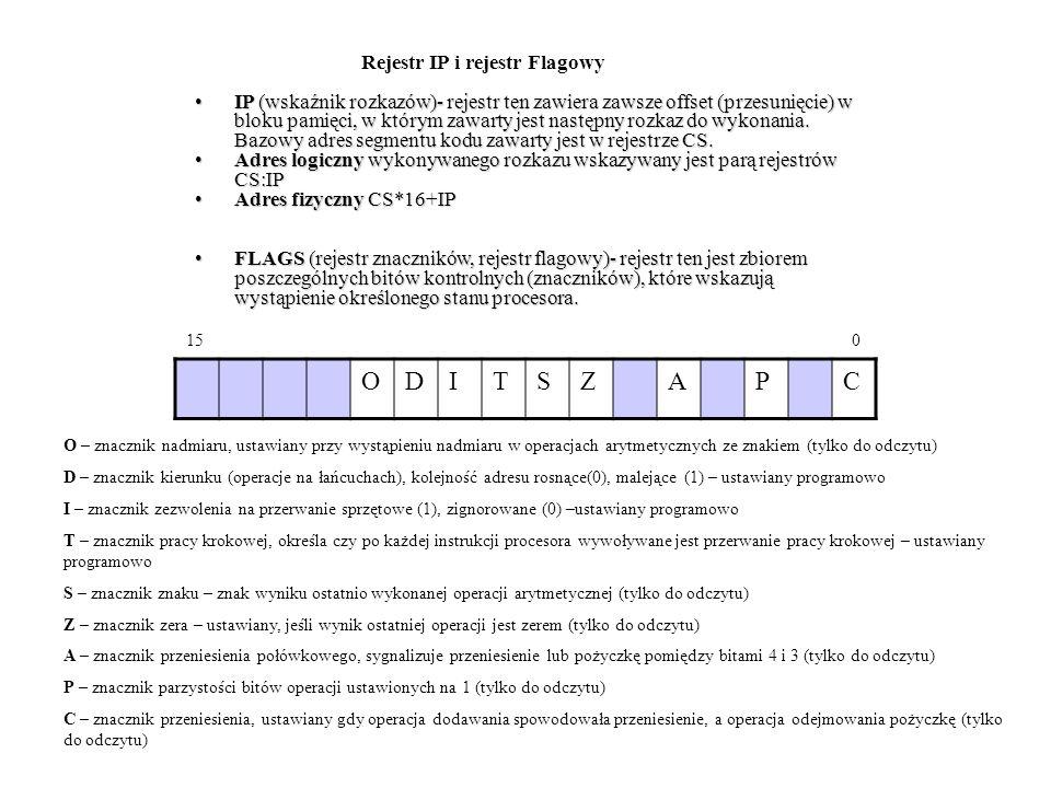 IP (wskaźnik rozkazów)- rejestr ten zawiera zawsze offset (przesunięcie) w bloku pamięci, w którym zawarty jest następny rozkaz do wykonania. Bazowy a