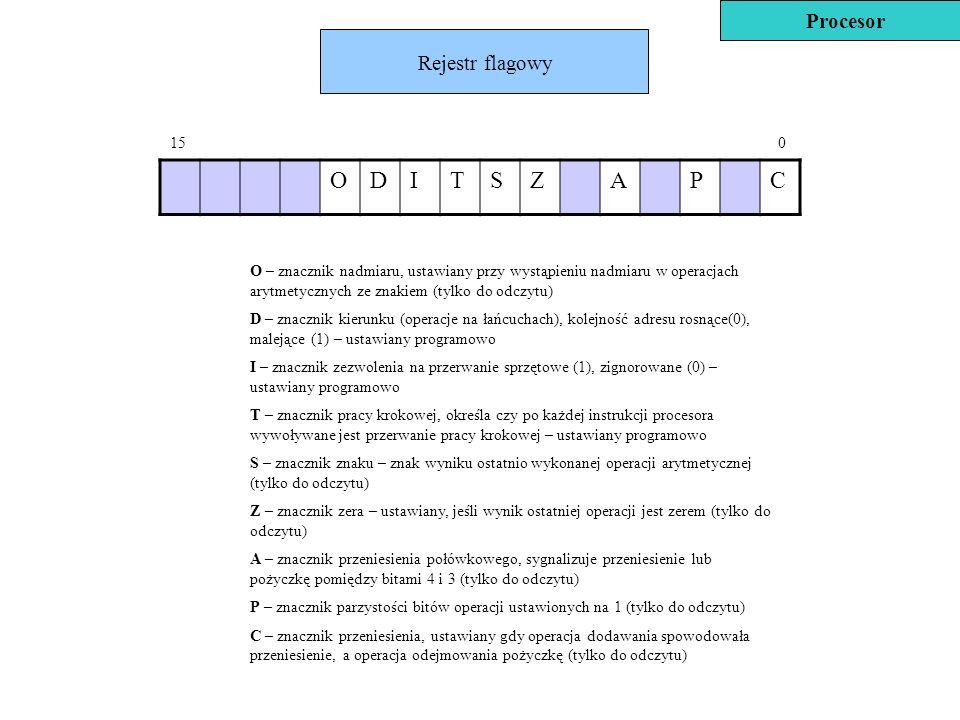 Rejestr flagowy ODITSZAPC O – znacznik nadmiaru, ustawiany przy wystąpieniu nadmiaru w operacjach arytmetycznych ze znakiem (tylko do odczytu) D – zna