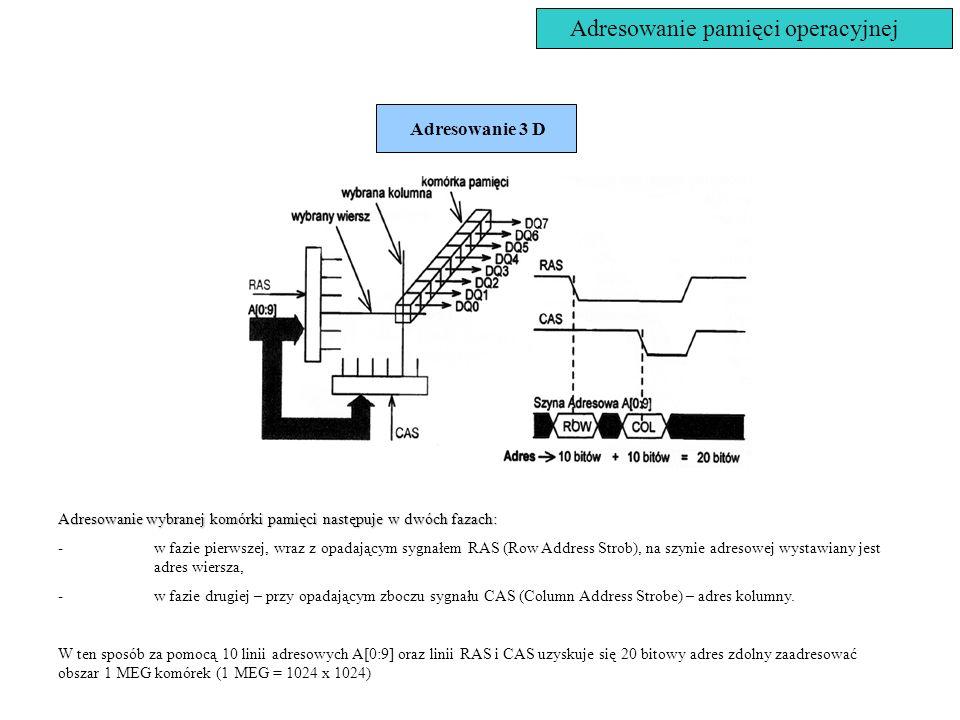 Adresowanie pamięci operacyjnej Adresowanie 3 D Adresowanie wybranej komórki pamięci następuje w dwóch fazach: -w fazie pierwszej, wraz z opadającym s