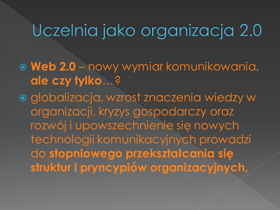 Web 2.0 – nowy wymiar komunikowania, ale czy tylko …? globalizacja, wzrost znaczenia wiedzy w organizacji, kryzys gospodarczy oraz rozwój i upowszechn