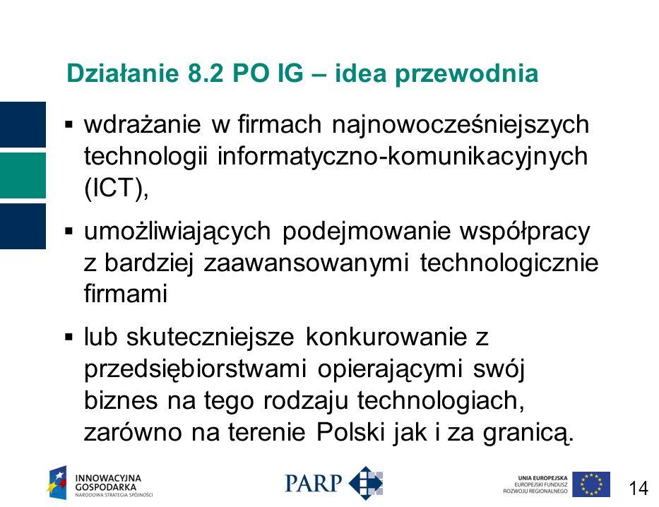 14 Działanie 8.2 PO IG – idea przewodnia wdrażanie w firmach najnowocześniejszych technologii informatyczno-komunikacyjnych (ICT), umożliwiających podejmowanie współpracy z bardziej zaawansowanymi technologicznie firmami lub skuteczniejsze konkurowanie z przedsiębiorstwami opierającymi swój biznes na tego rodzaju technologiach, zarówno na terenie Polski jak i za granicą.