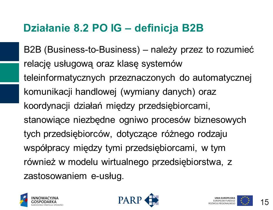 15 Działanie 8.2 PO IG – definicja B2B B2B (Business-to-Business) – należy przez to rozumieć relację usługową oraz klasę systemów teleinformatycznych przeznaczonych do automatycznej komunikacji handlowej (wymiany danych) oraz koordynacji działań między przedsiębiorcami, stanowiące niezbędne ogniwo procesów biznesowych tych przedsiębiorców, dotyczące różnego rodzaju współpracy między tymi przedsiębiorcami, w tym również w modelu wirtualnego przedsiębiorstwa, z zastosowaniem e-usług.