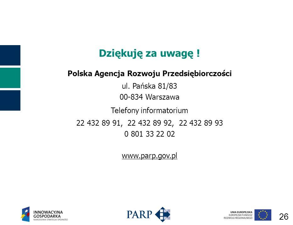 26 Dziękuję za uwagę .Polska Agencja Rozwoju Przedsiębiorczości ul.