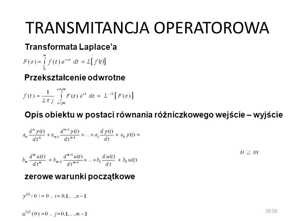 TRANSMITANCJA OPERATOROWA 38/56 Transformata Laplacea Przekształcenie odwrotne Opis obiektu w postaci równania różniczkowego wejście – wyjście zerowe