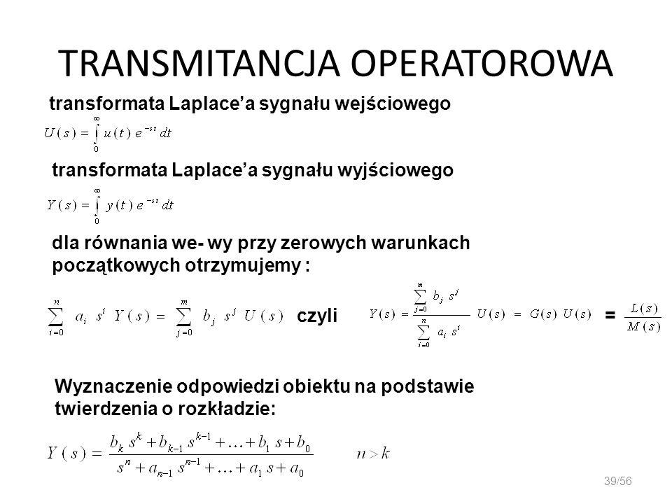 TRANSMITANCJA OPERATOROWA 39/56 transformata Laplacea sygnału wejściowego transformata Laplacea sygnału wyjściowego dla równania we- wy przy zerowych