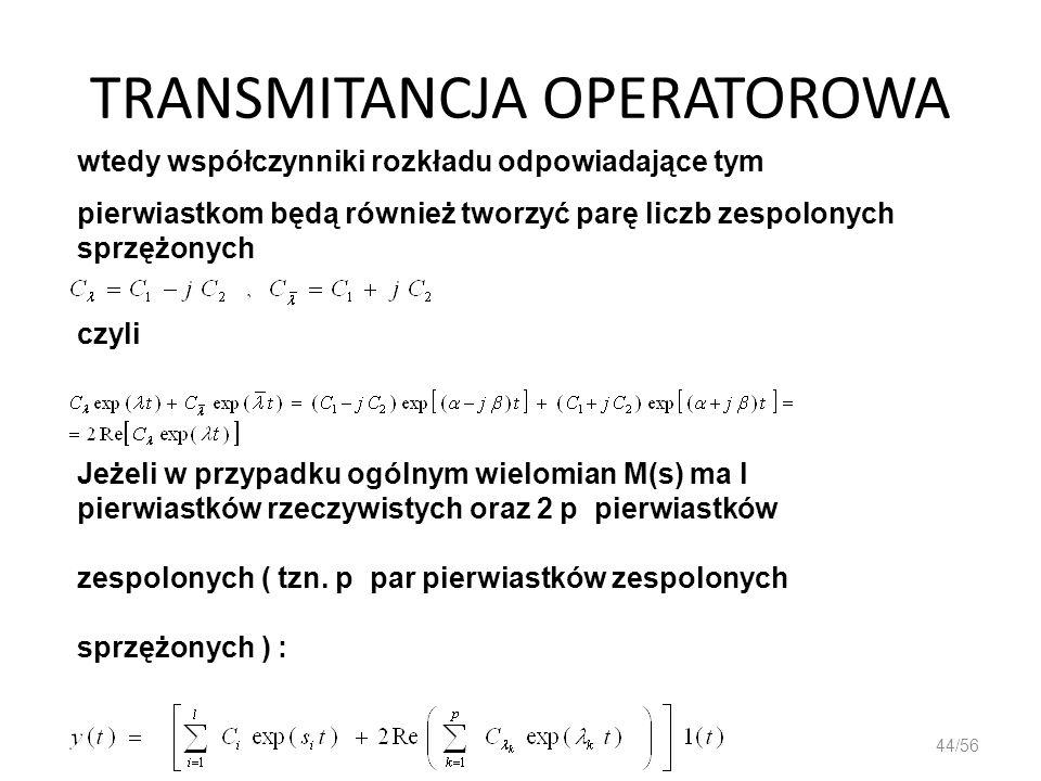 TRANSMITANCJA OPERATOROWA 44/56 wtedy współczynniki rozkładu odpowiadające tym pierwiastkom będą również tworzyć parę liczb zespolonych sprzężonych cz