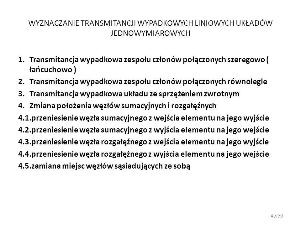 WYZNACZANIE TRANSMITANCJI WYPADKOWYCH LINIOWYCH UKŁADÓW JEDNOWYMIAROWYCH 1.Transmitancja wypadkowa zespołu członów połączonych szeregowo ( łańcuchowo
