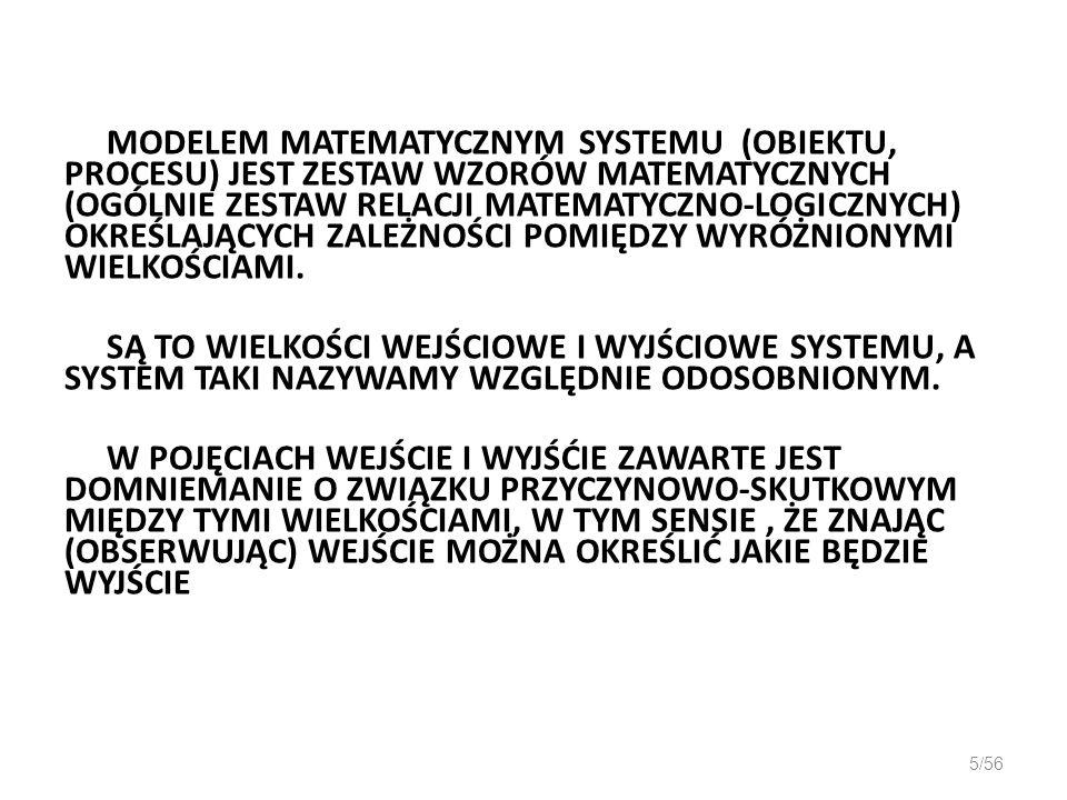 CZŁON OSCYLACYJNY 26/56 Równanie różniczkowe wejście-wyjście: lub k- współczynnik wzmocnienia określony jako stosunek odpowiedzi y do wymuszenia u w stanie ustalonym, - okres drgań własnych nie tłumionych, - pulsacja drgań własnych nie tłumionych, - względny współczynnik tłumienia ( ) Charakterystyka skokowa: przy czym - pulsacja drgań własnych tłumionych