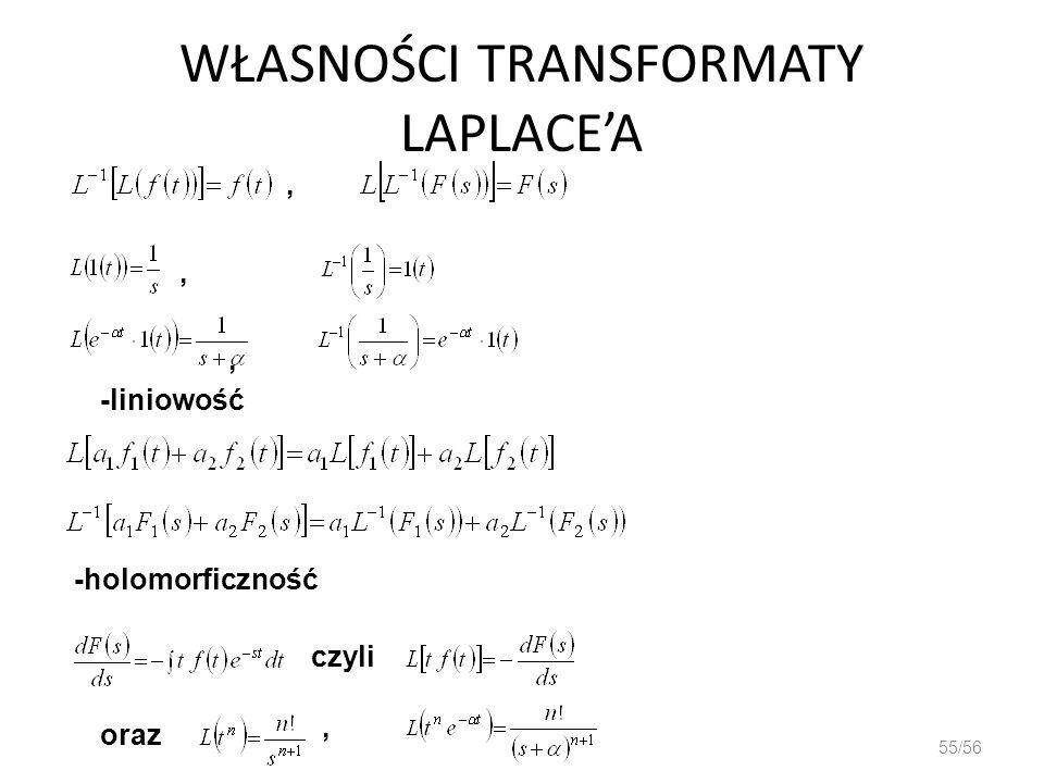 WŁASNOŚCI TRANSFORMATY LAPLACEA 55/56,,, -liniowość -holomorficzność czyli oraz,