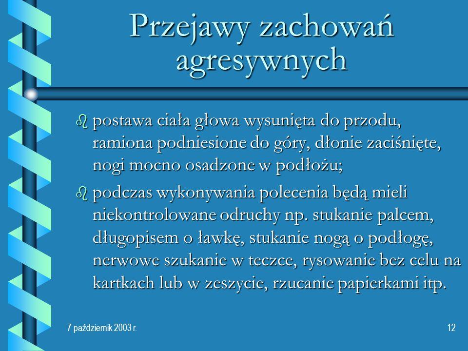 7 październik 2003 r.12 Przejawy zachowań agresywnych b postawa ciała głowa wysunięta do przodu, ramiona podniesione do góry, dłonie zaciśnięte, nogi