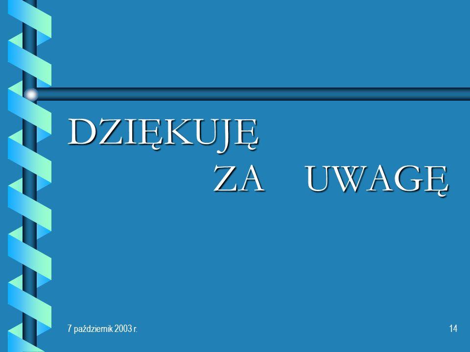7 październik 2003 r.14 DZIĘKUJĘ ZA UWAGĘ