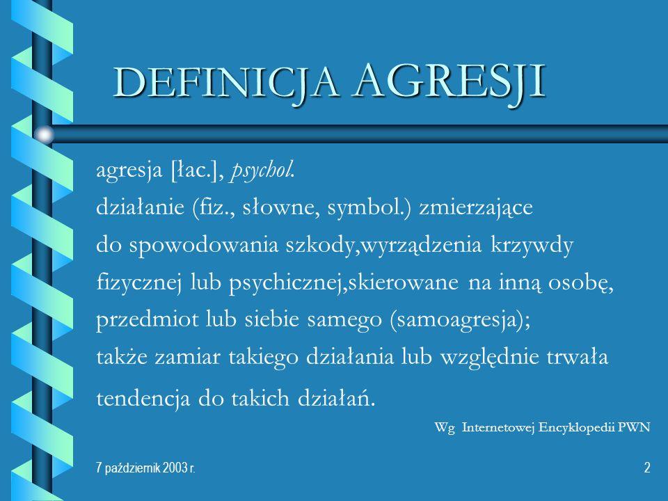 7 październik 2003 r.2 DEFINICJA AGRESJI agresja [łac.], psychol. działanie (fiz., słowne, symbol.) zmierzające do spowodowania szkody,wyrządzenia krz