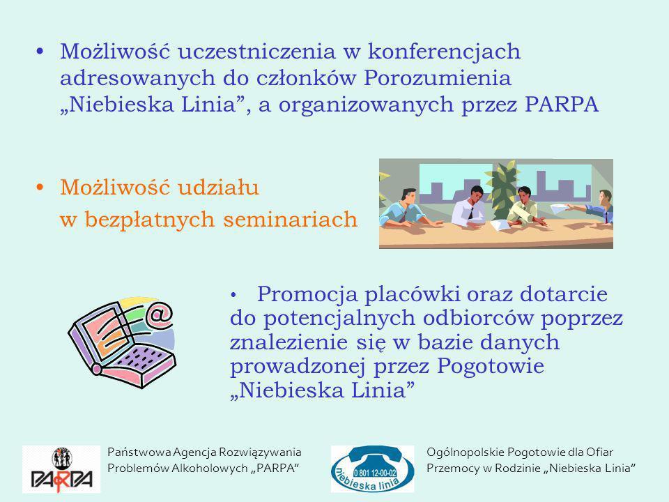 Możliwość uczestniczenia w konferencjach adresowanych do członków Porozumienia Niebieska Linia, a organizowanych przez PARPA Możliwość udziału w bezpł