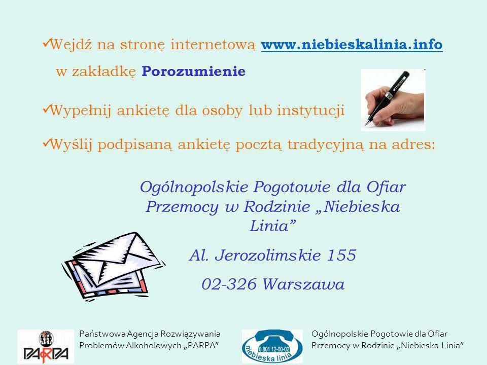 Wejdź na stronę internetową www.niebieskalinia.info www.niebieskalinia.info w zakładkę Porozumienie Wypełnij ankietę dla osoby lub instytucji Wyślij p