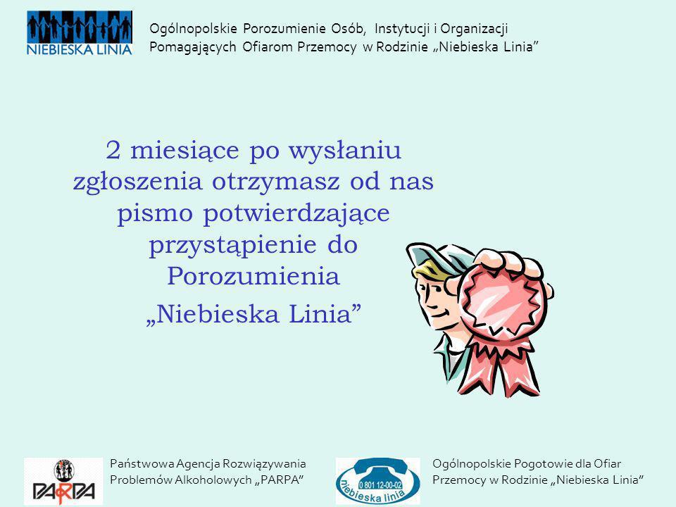 Państwowa Agencja Rozwiązywania Problemów Alkoholowych PARPA Ogólnopolskie Pogotowie dla Ofiar Przemocy w Rodzinie Niebieska Linia 2 miesiące po wysła