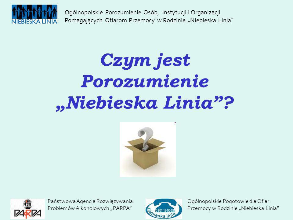 Czym jest Porozumienie Niebieska Linia? Państwowa Agencja Rozwiązywania Problemów Alkoholowych PARPA Ogólnopolskie Pogotowie dla Ofiar Przemocy w Rodz