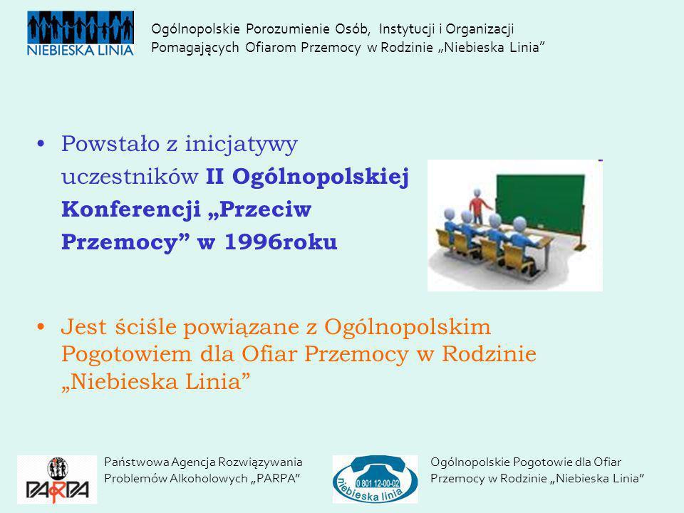 Powstało z inicjatywy uczestników II Ogólnopolskiej Konferencji Przeciw Przemocy w 1996roku Jest ściśle powiązane z Ogólnopolskim Pogotowiem dla Ofiar