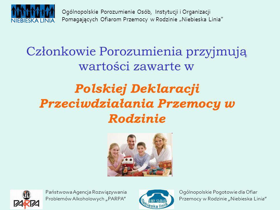 Państwowa Agencja Rozwiązywania Problemów Alkoholowych PARPA Ogólnopolskie Pogotowie dla Ofiar Przemocy w Rodzinie Niebieska Linia Ogólnopolskie Poroz