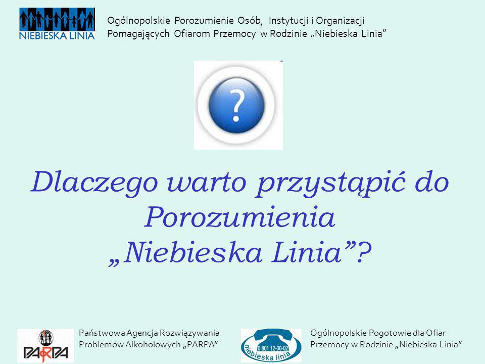 Dlaczego warto przystąpić do Porozumienia Niebieska Linia? Państwowa Agencja Rozwiązywania Problemów Alkoholowych PARPA Ogólnopolskie Pogotowie dla Of