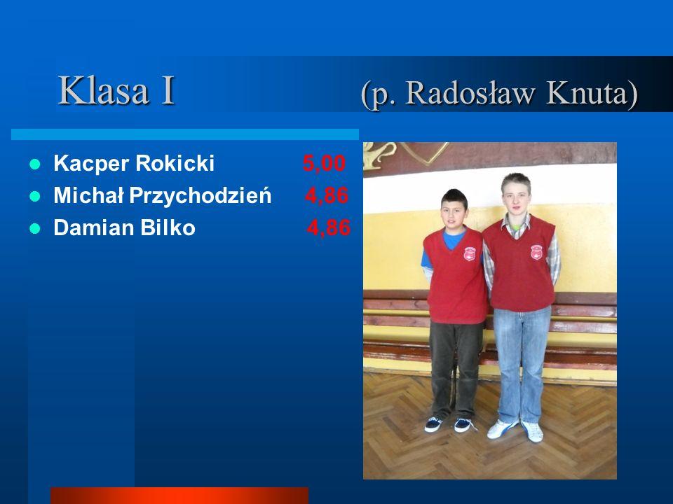 Klasa I (p. Radosław Knuta) Kacper Rokicki 5,00 Michał Przychodzień 4,86 Damian Bilko 4,86
