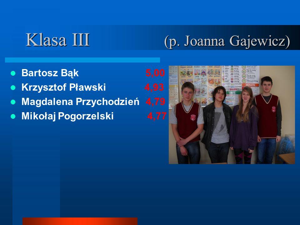 Klasa III (p. Joanna Gajewicz) Bartosz Bąk 5,00 Krzysztof Pławski 4,93 Magdalena Przychodzień 4,79 Mikołaj Pogorzelski 4,77