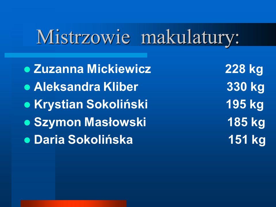 Mistrzowie makulatury: Zuzanna Mickiewicz 228 kg Aleksandra Kliber 330 kg Krystian Sokoliński 195 kg Szymon Masłowski 185 kg Daria Sokolińska 151 kg