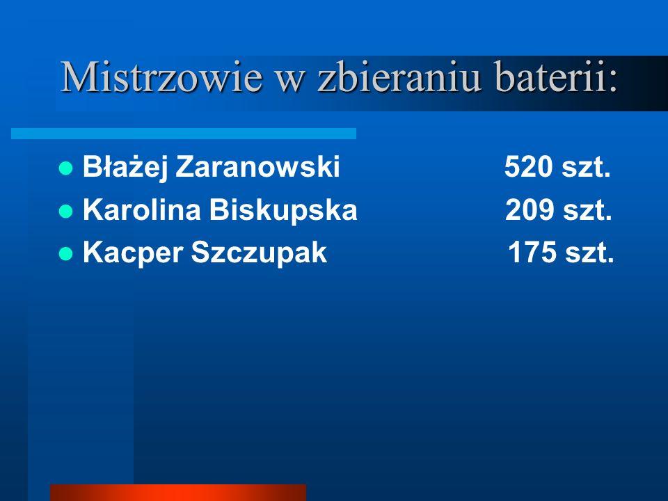 Mistrzowie w zbieraniu baterii: Błażej Zaranowski 520 szt. Karolina Biskupska 209 szt. Kacper Szczupak 175 szt.