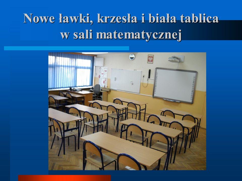 Nowe ławki, krzesła i biała tablica w sali matematycznej