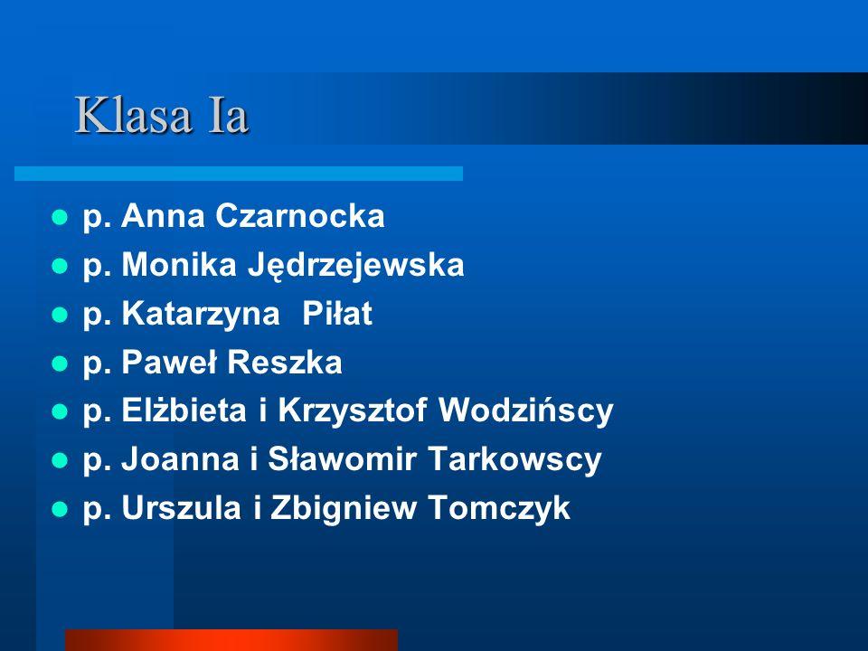 Klasa Ia p. Anna Czarnocka p. Monika Jędrzejewska p. Katarzyna Piłat p. Paweł Reszka p. Elżbieta i Krzysztof Wodzińscy p. Joanna i Sławomir Tarkowscy