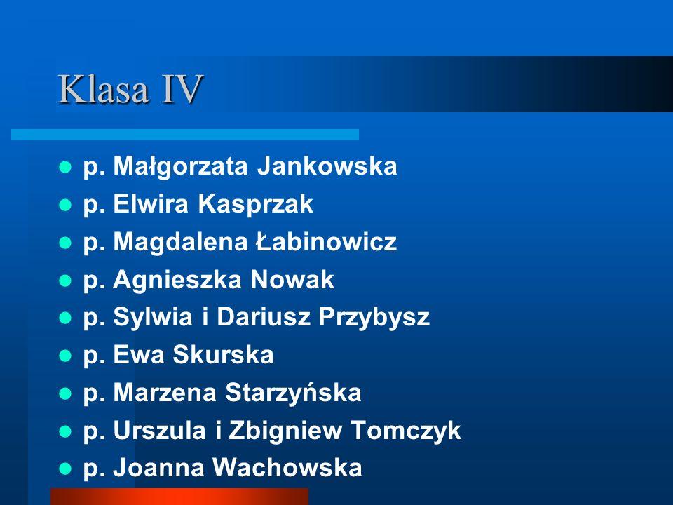 Klasa IV p. Małgorzata Jankowska p. Elwira Kasprzak p. Magdalena Łabinowicz p. Agnieszka Nowak p. Sylwia i Dariusz Przybysz p. Ewa Skurska p. Marzena