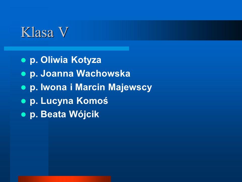 Klasa V p. Oliwia Kotyza p. Joanna Wachowska p. Iwona i Marcin Majewscy p. Lucyna Komoś p. Beata Wójcik