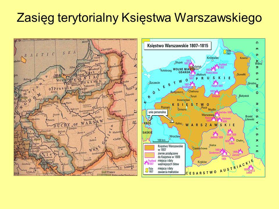Zasięg terytorialny Księstwa Warszawskiego