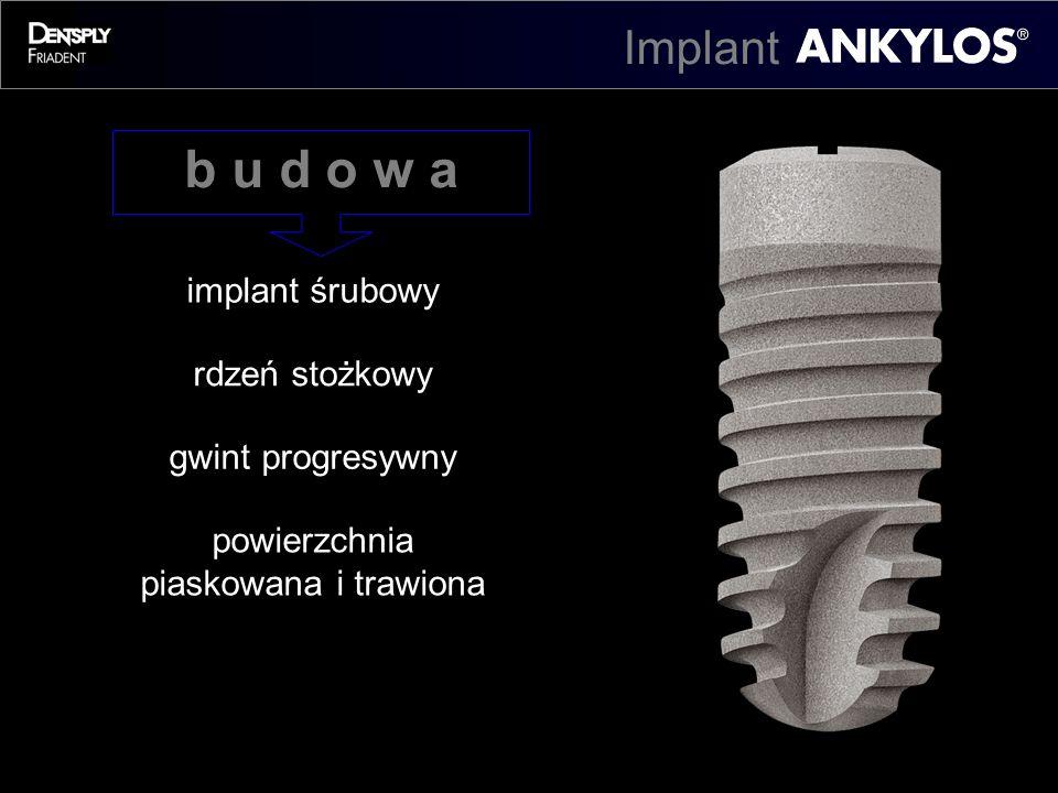 implant śrubowy rdzeń stożkowy gwint progresywny powierzchnia piaskowana i trawiona b u d o w a