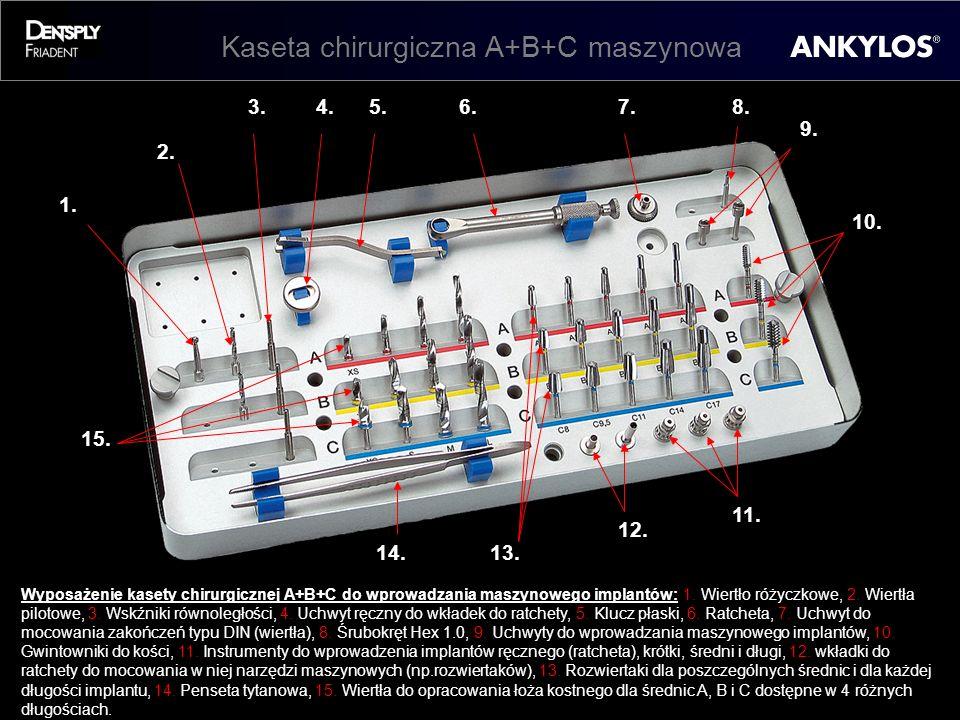 Kaseta chirurgiczna A+B+C maszynowa 1. 3. 2. 4.5.6.8.7. 9. 13. 10. 12. 11. 15. 14. Wyposażenie kasety chirurgicznej A+B+C do wprowadzania maszynowego