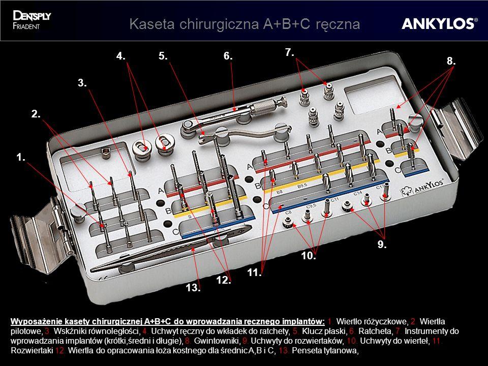 Kaseta chirurgiczna A+B+C ręczna 1. 3. 2. 4.5.6. 8. 7. 9. 10. 13. 12. 11. Wyposażenie kasety chirurgicznej A+B+C do wprowadzania ręcznego implantów: 1