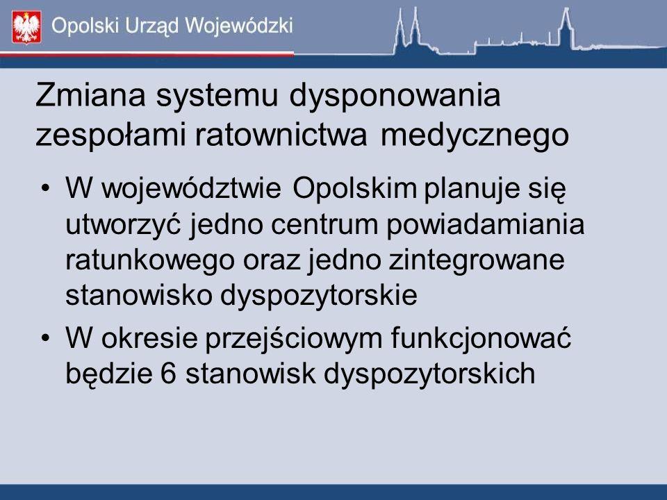 Zmiana systemu dysponowania zespołami ratownictwa medycznego W województwie Opolskim planuje się utworzyć jedno centrum powiadamiania ratunkowego oraz