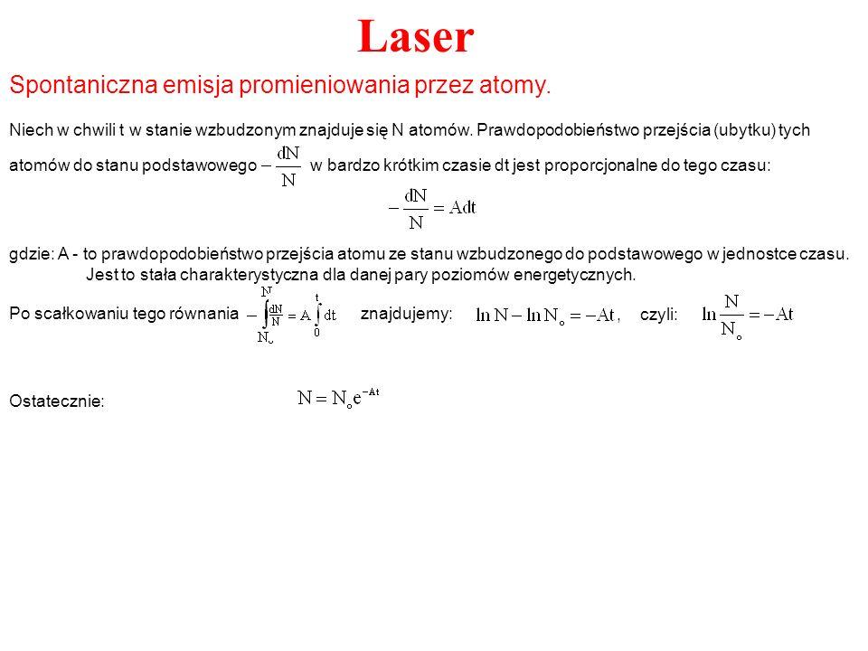 Laser Niech w chwili t w stanie wzbudzonym znajduje się N atomów. Prawdopodobieństwo przejścia (ubytku) tych atomów do stanu podstawowego w bardzo kró