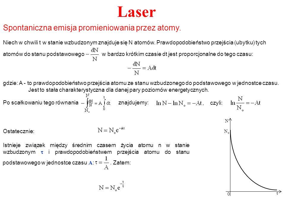 Laser Spontaniczna emisja promieniowania przez atomy. Niech w chwili t w stanie wzbudzonym znajduje się N atomów. Prawdopodobieństwo przejścia (ubytku