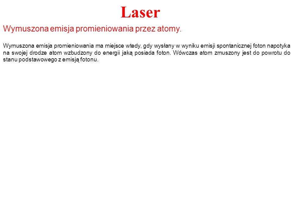 Laser Wymuszona emisja promieniowania przez atomy. Wymuszona emisja promieniowania ma miejsce wtedy, gdy wysłany w wyniku emisji spontanicznej foton n